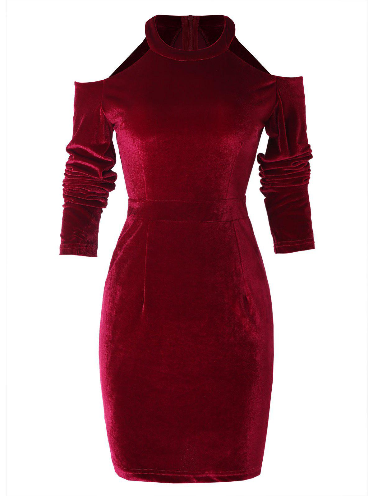 Chic Cold Shoulder Velvet Sheath Dress