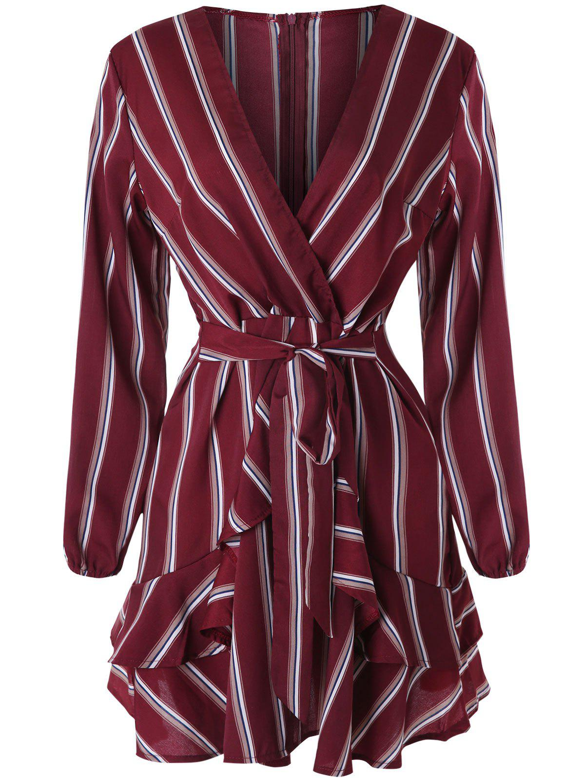 Cheap Plunging Neckline Belted Stripe Faux Wrap Dress
