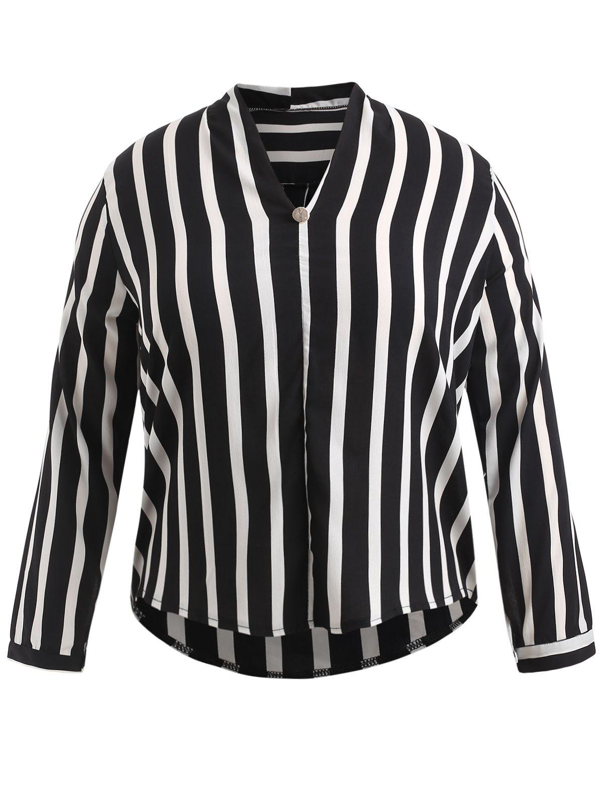 Trendy Plus Size High Low Contrast Striped Blouse