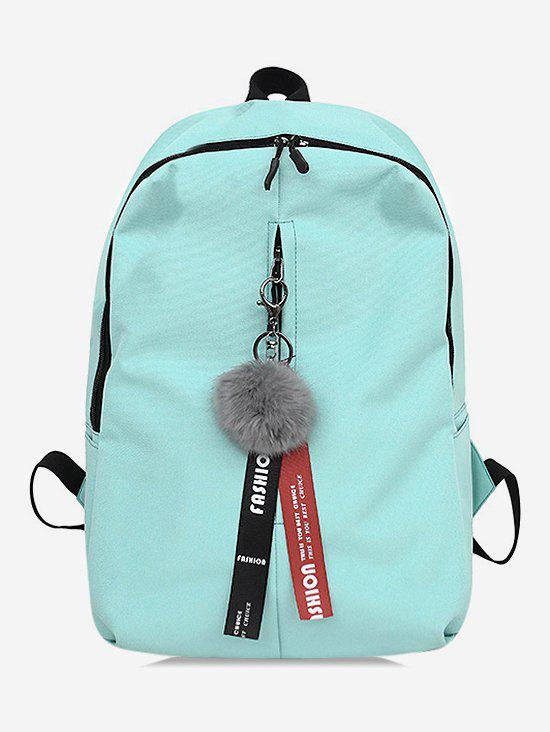 Online Letter Print Faux Fur Ball School Backpack
