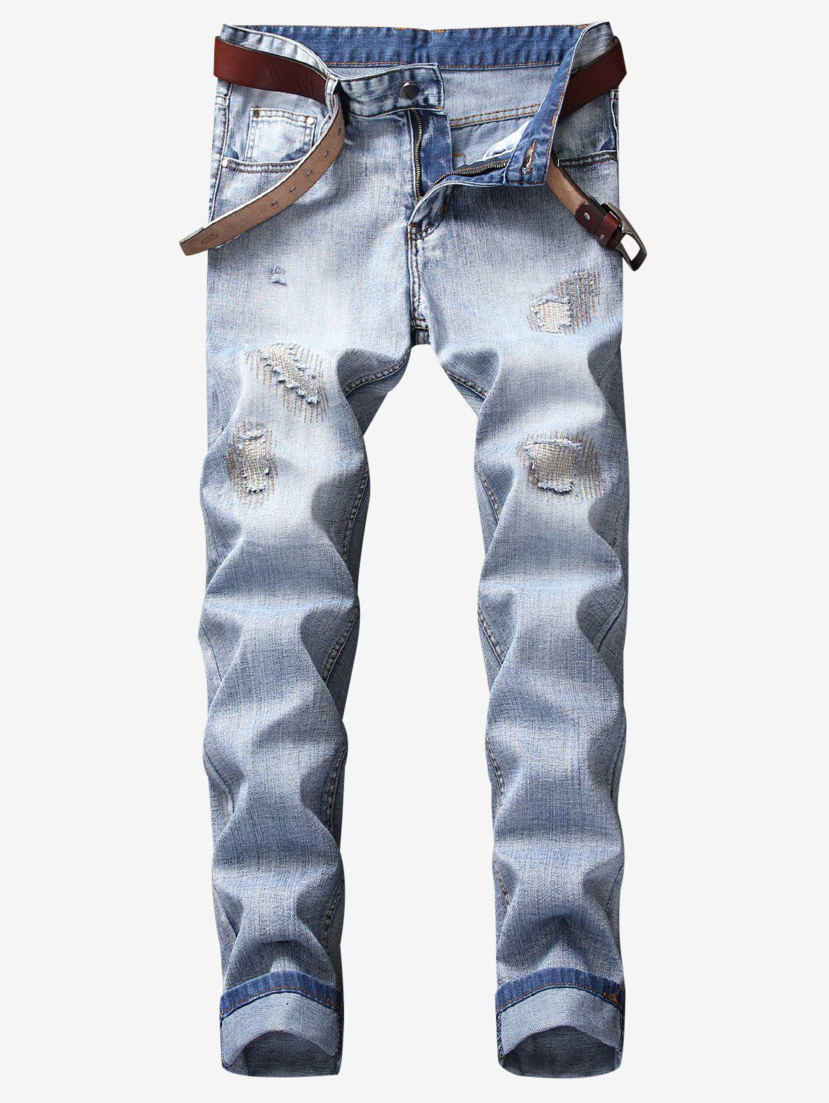 Fancy Ripped Stitching Reattached Patch Jeans