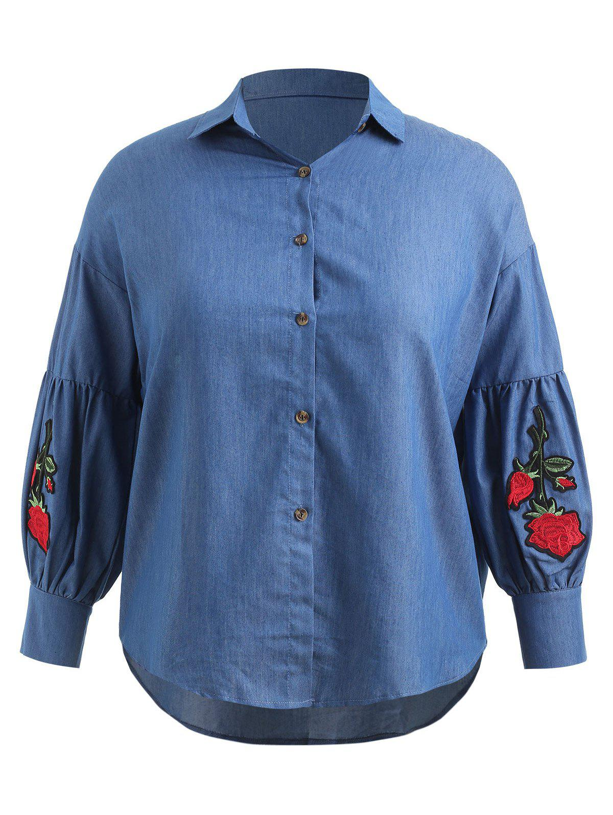 Buy Plus Size Floral Embroidered Asymmtrical Chambray Shirt