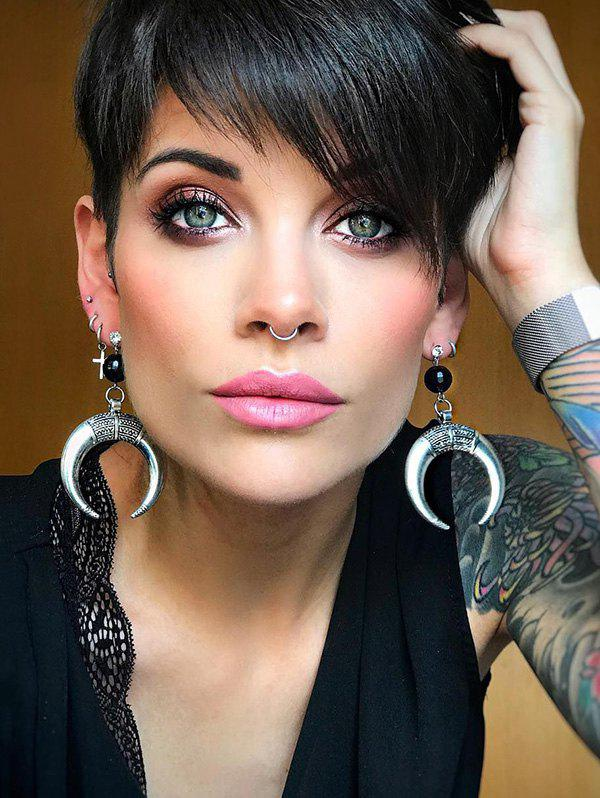 Best Inclined Bang Short Straight Pixie Cut Human Hair Wig