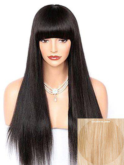 Sale Long Full Bang Straight Capless Party Human Hair Wig