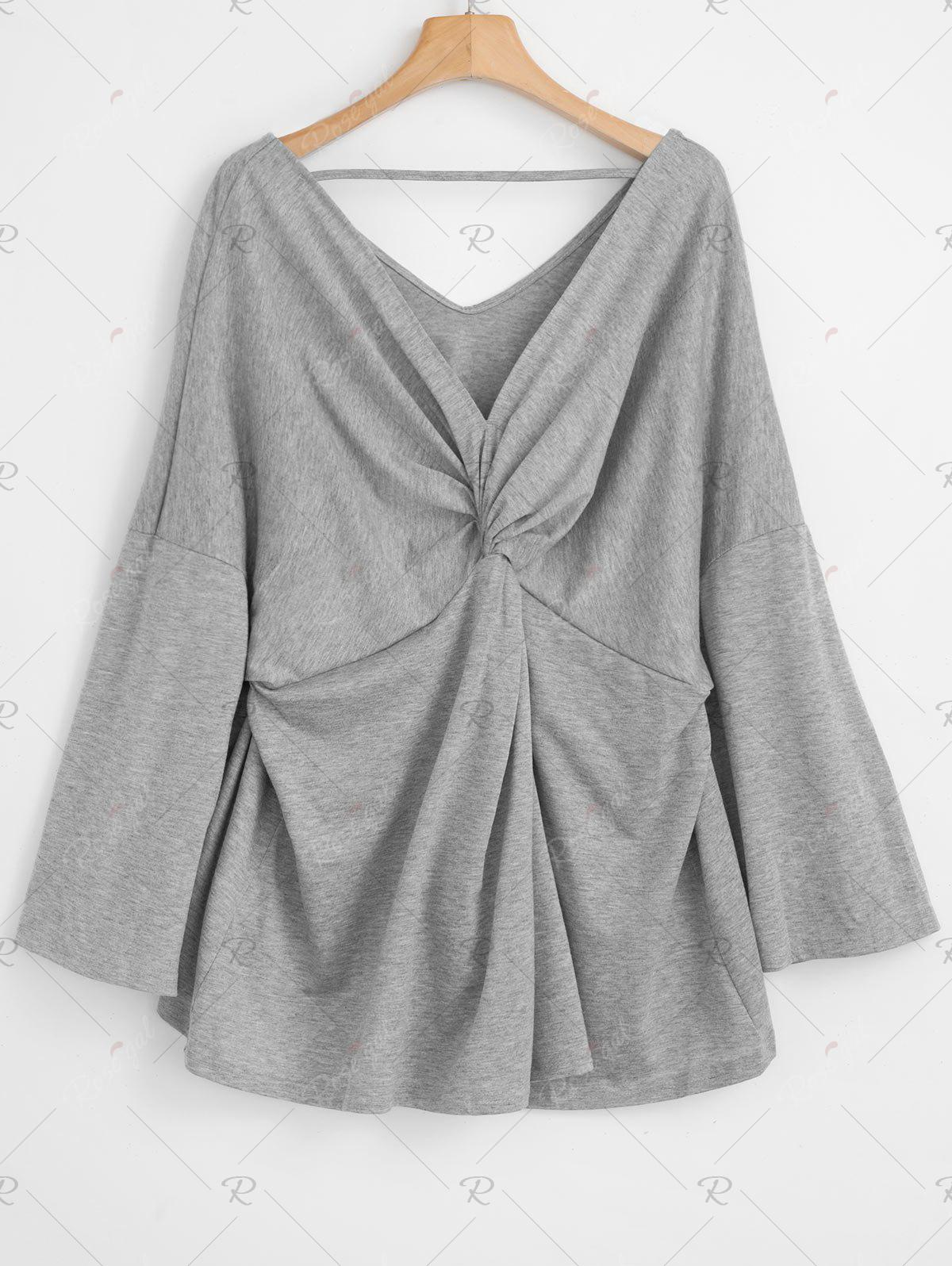 Discount Plus Size Twist Front Flare Sleeve T-shirt