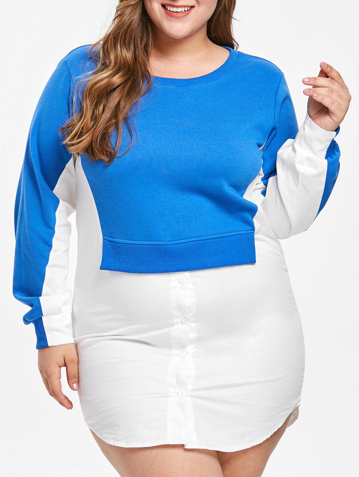 Discount Color Block Plus Size Shirt Dress