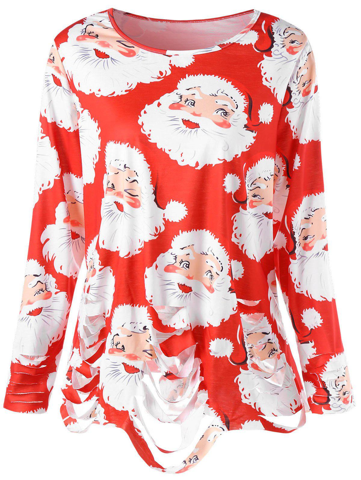 Fashion Plus Size Santa Claus Print Ripped Christmas T-shirt