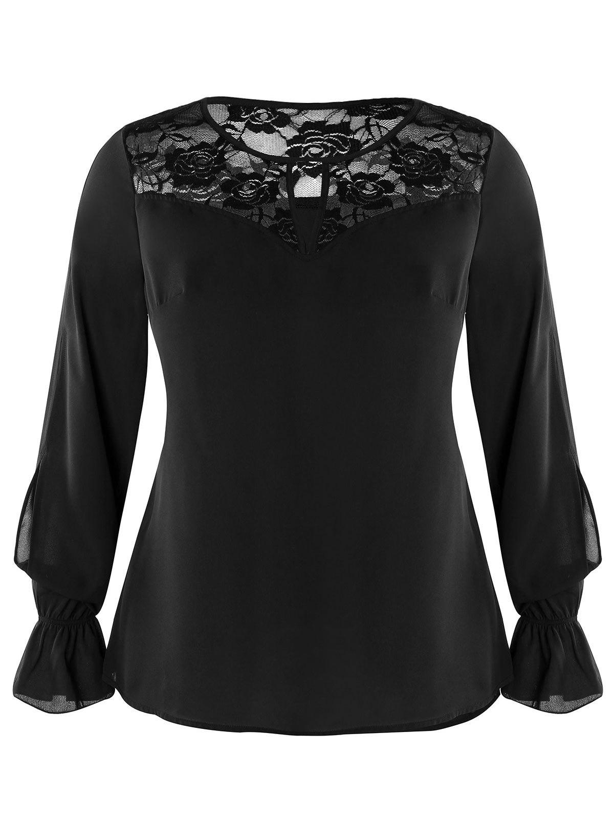 Hot Plus Size Keyhole Lace Panel Top