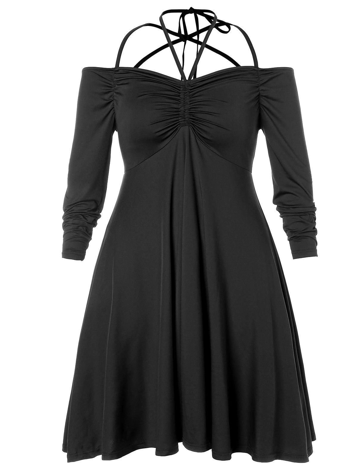Fancy Plus Size Strappy Empire Waist Ruched Dress