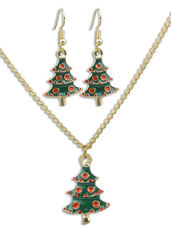 Cheap Christmas Tree Alloy Earrings Necklace Set