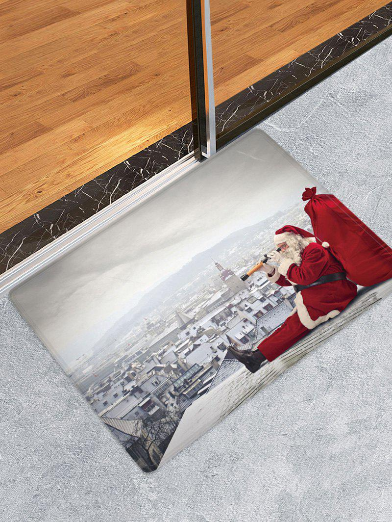 Chic Christmas Santa City Pattern Water Absorption Area Rug