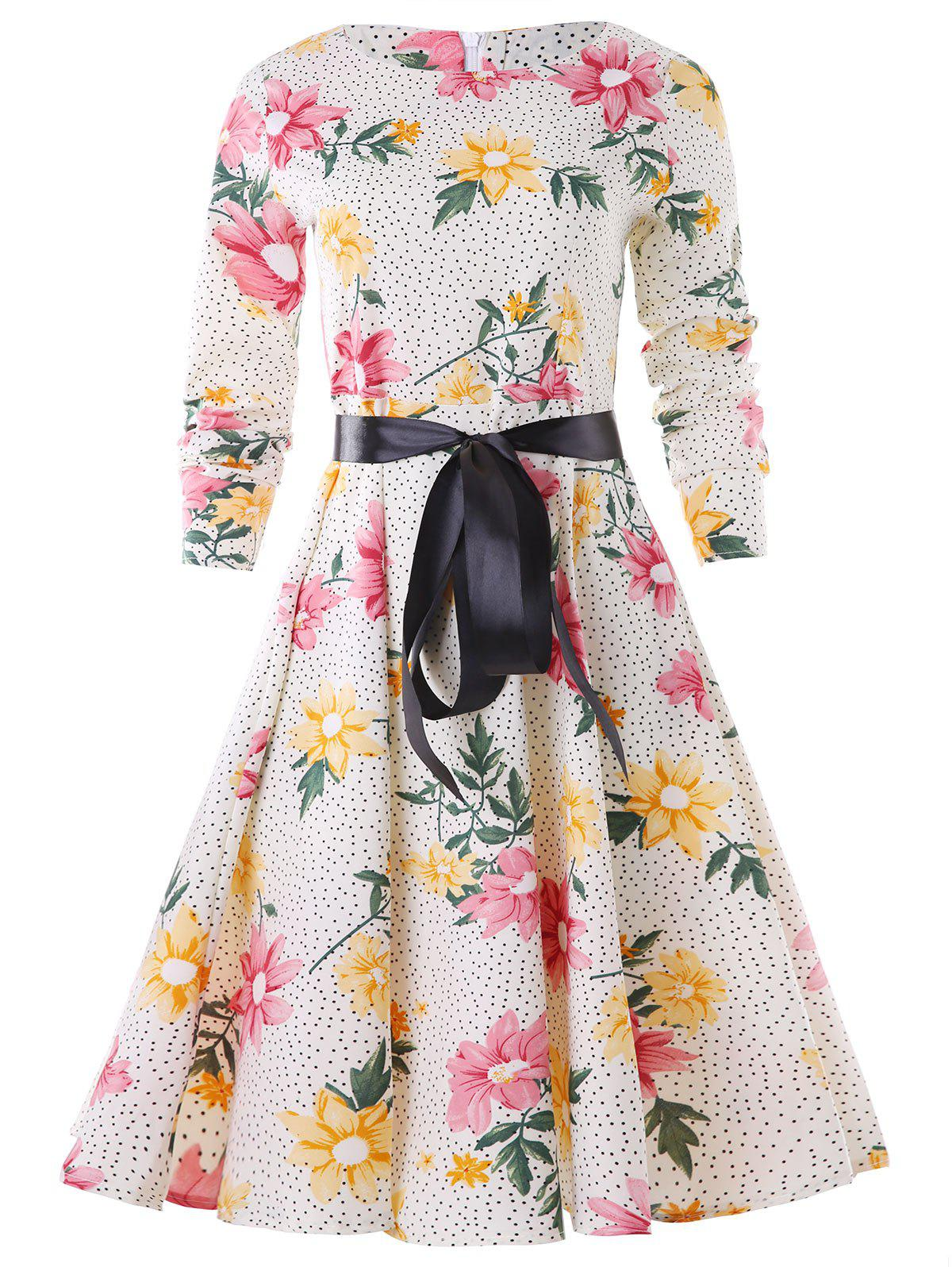 Discount Polka Dot Bowknot Belted A Line Dress
