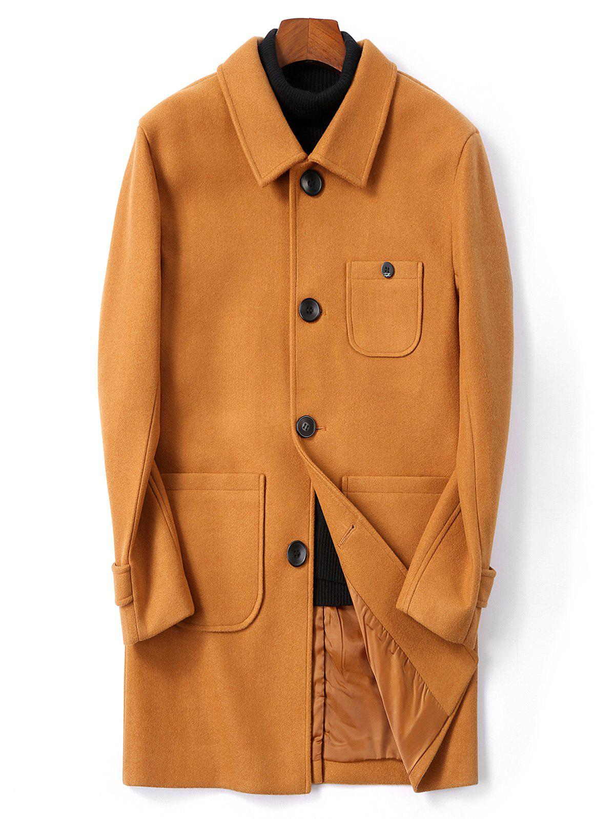 Buy Single Breasted Back Split Woolen Coat