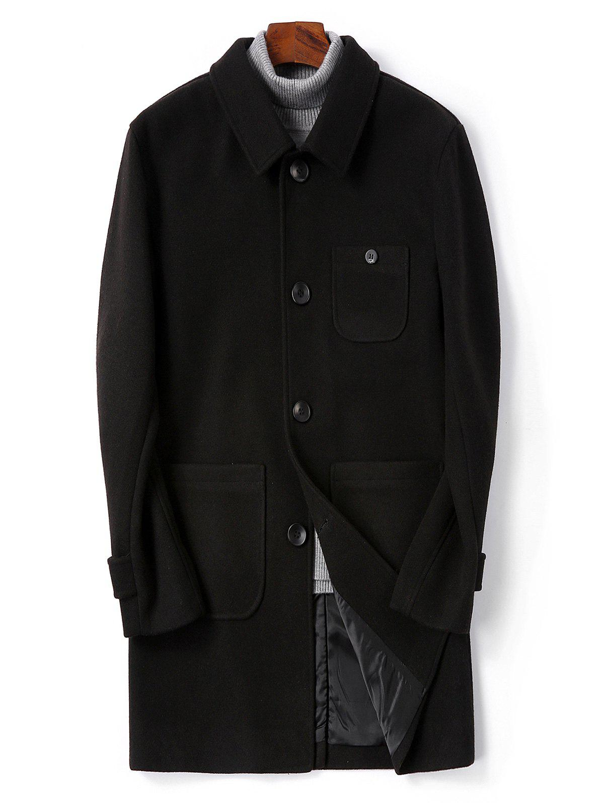 Shop Single Breasted Back Split Woolen Coat