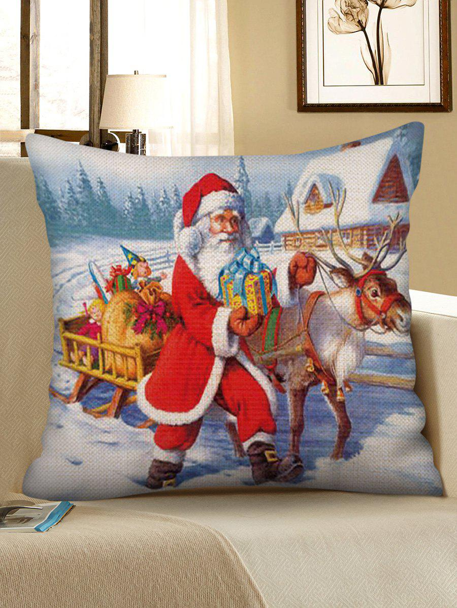 Outfits Christmas Santa Sleigh Print Decorative Sofa Linen Pillowcase
