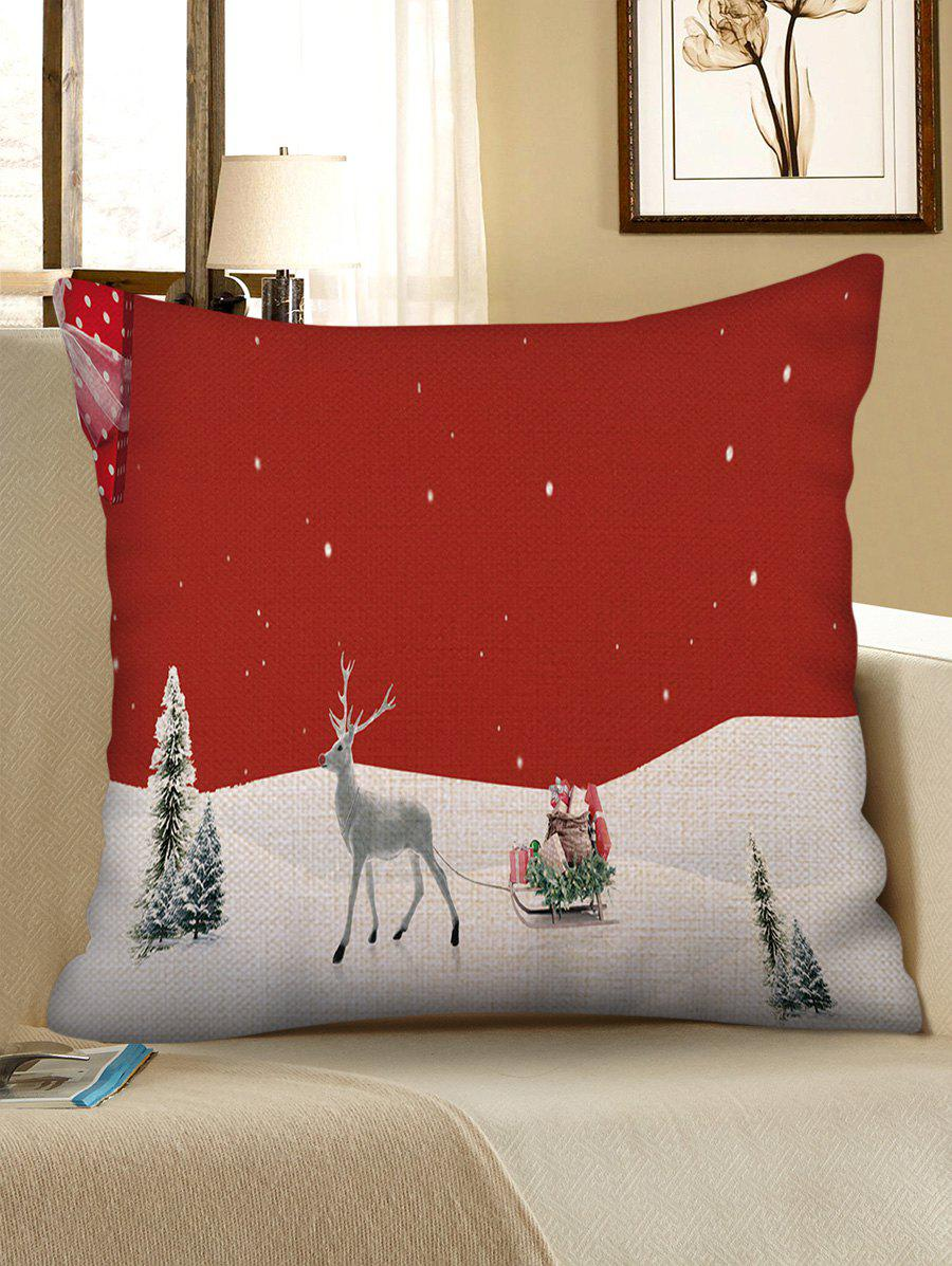 Outfits Christmas Snowfield Elk Print Decorative Sofa Linen Pillowcase