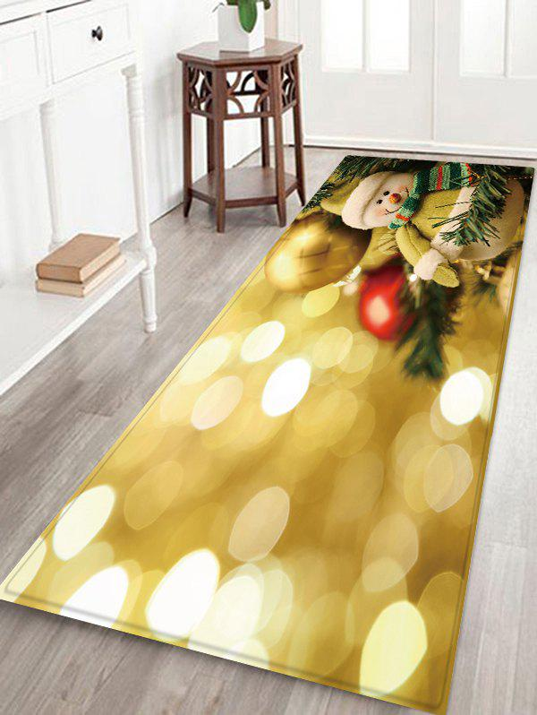 Trendy Christmas Ball Snowman Pattern Water Absorption Area Rug