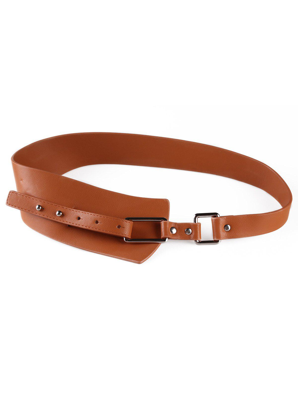Trendy Stylish Metal Buckle Artificial Leather Wide Waist Belt
