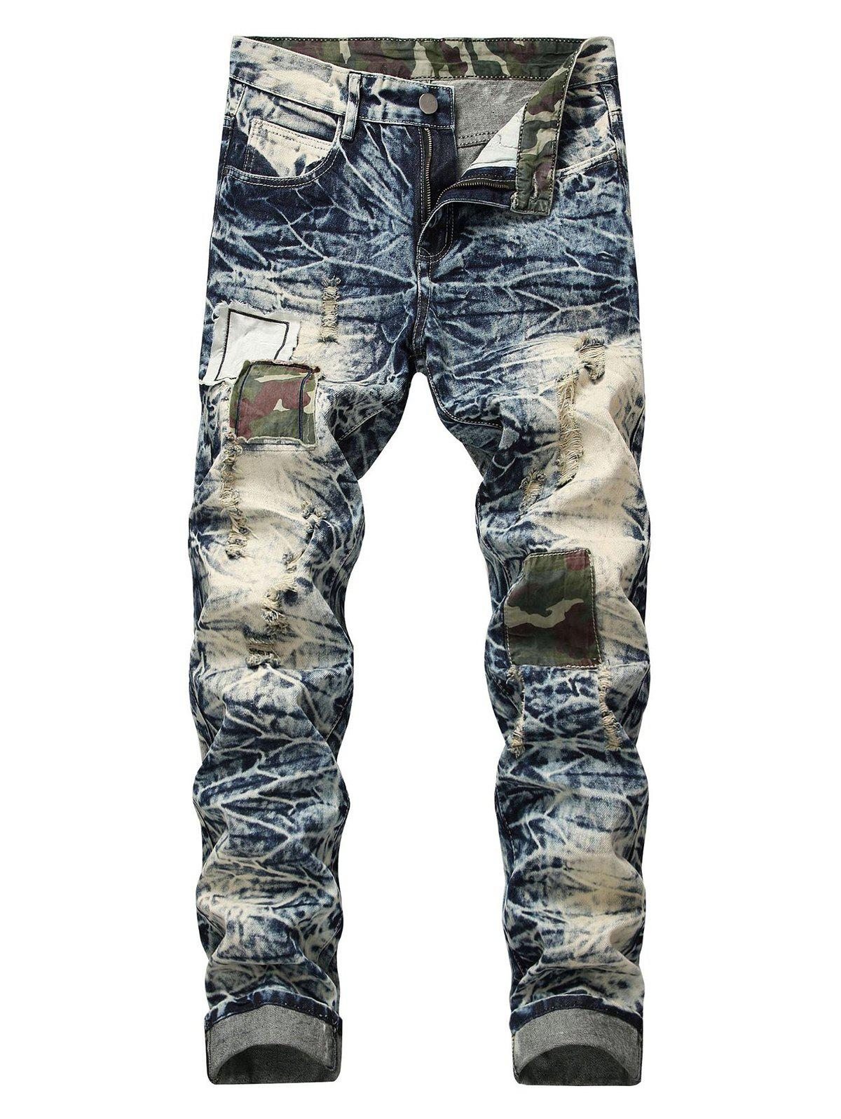 Chic Retro Camo Patch Straight Jeans