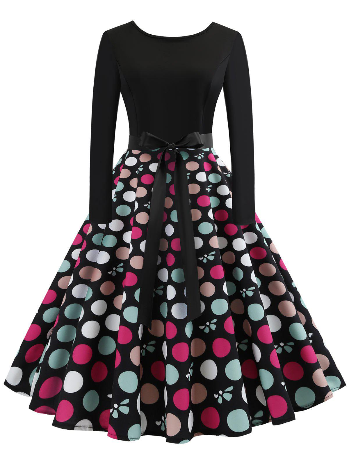 Store Vintage Belted Polka Dot Swing Dress