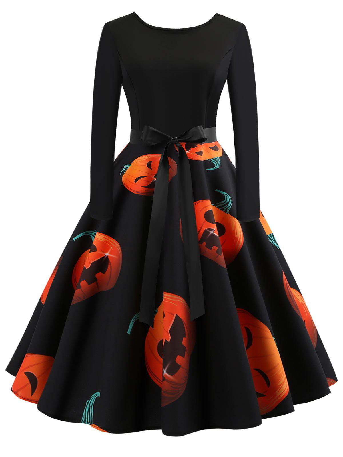 New Halloween Pumpkin Print Flare Dress