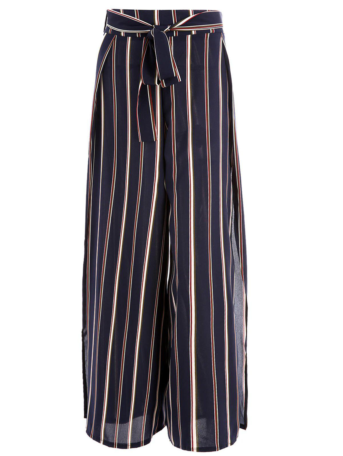 Fashion Belted Striped Slit Wide Leg Pants