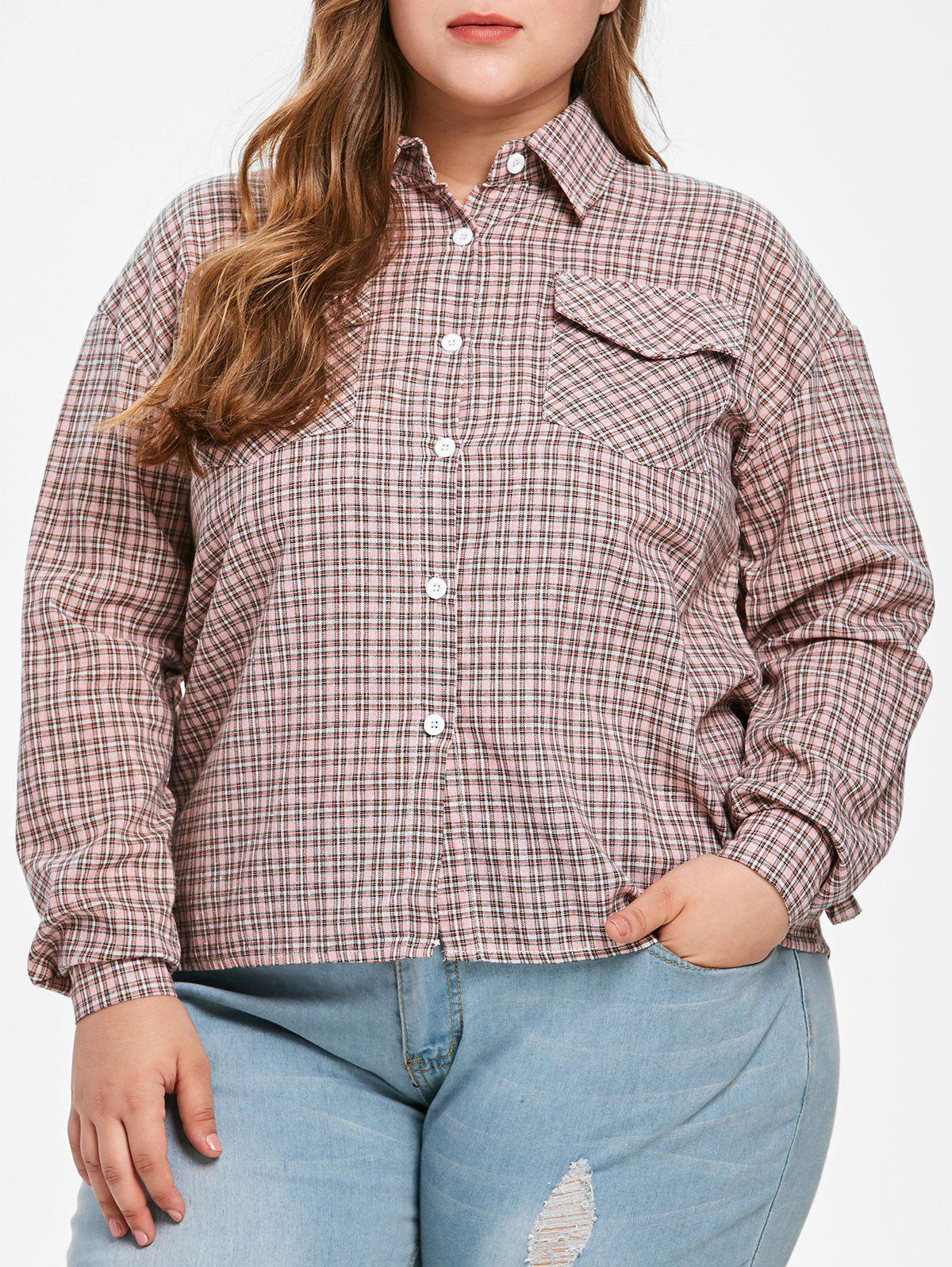 New Flounce Trim Plus Size Gingham Shirt