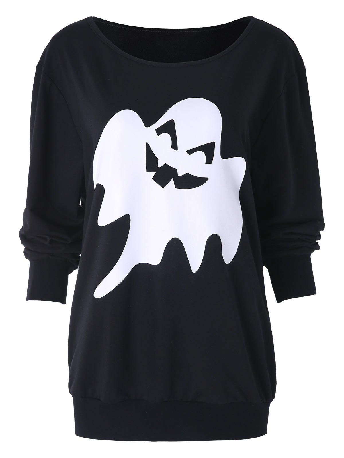 Sale Halloween Ghost Print Drop Shoulder Sweatshirt