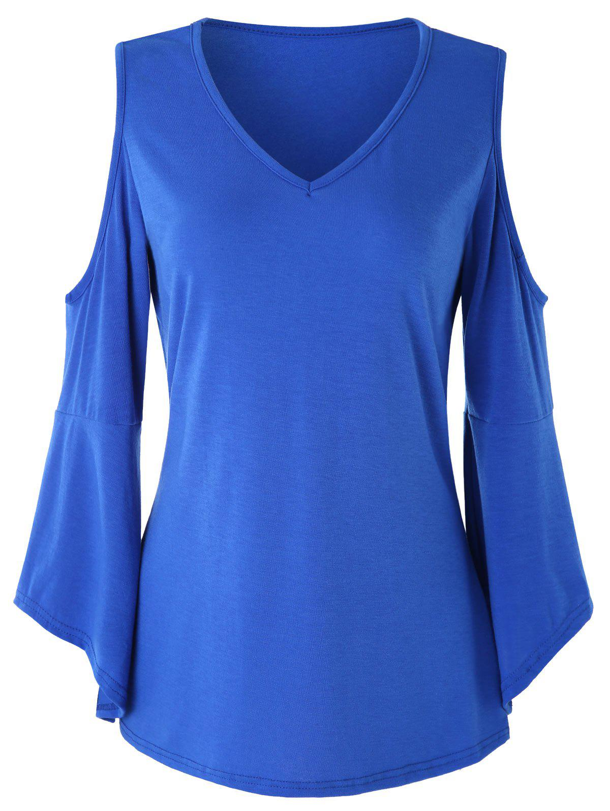 Discount Flare Sleeve Cold Shoulder Tee