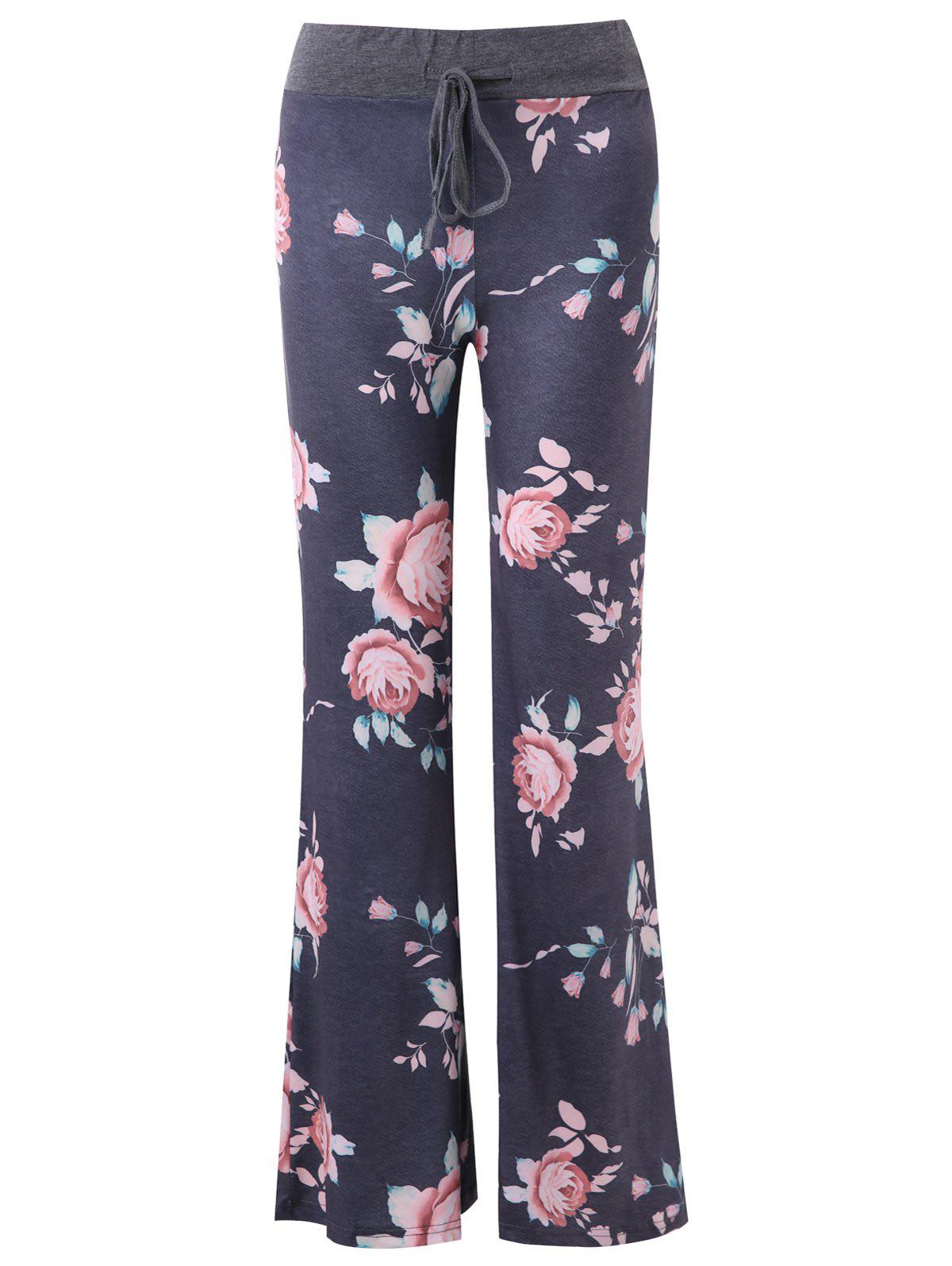 Fancy Drawstring Wide Leg Floral Print Pants