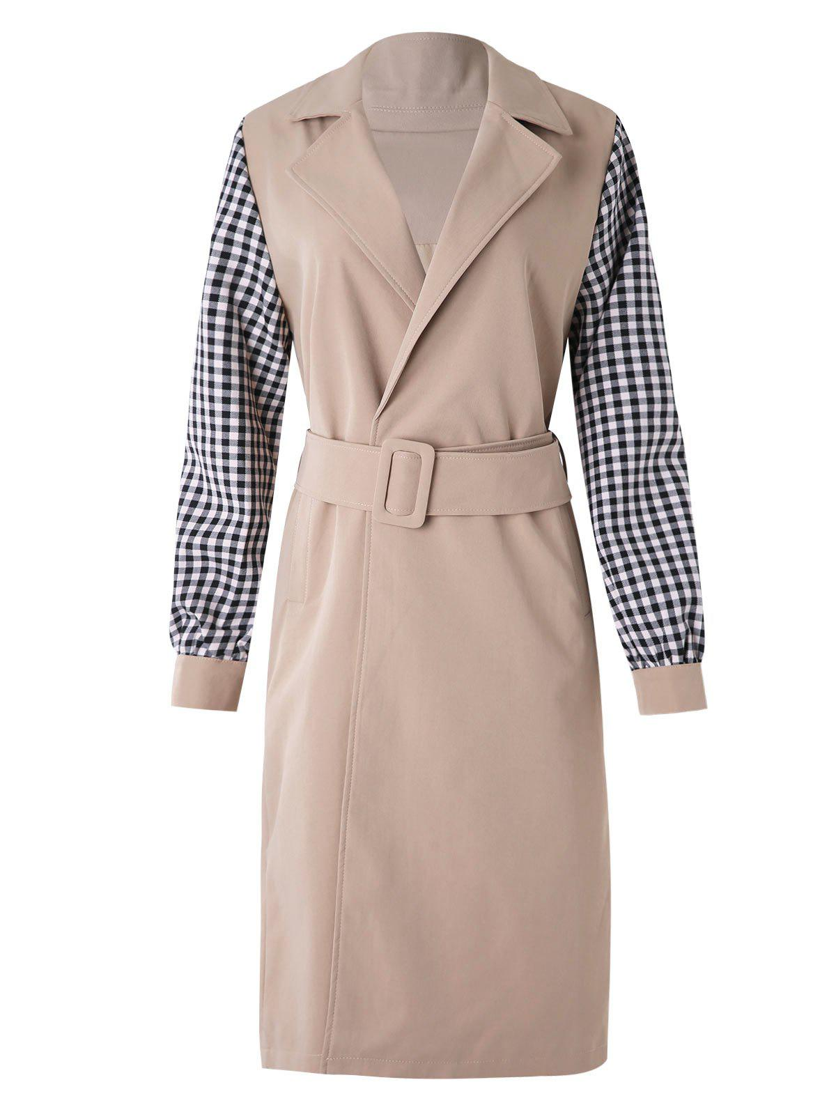 Outfit Plaid Sleeve Wrap Trench Coat