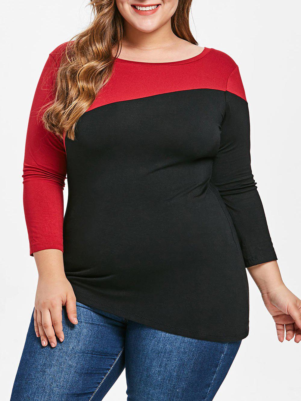 Sale Plus Size Color Block T-shirt