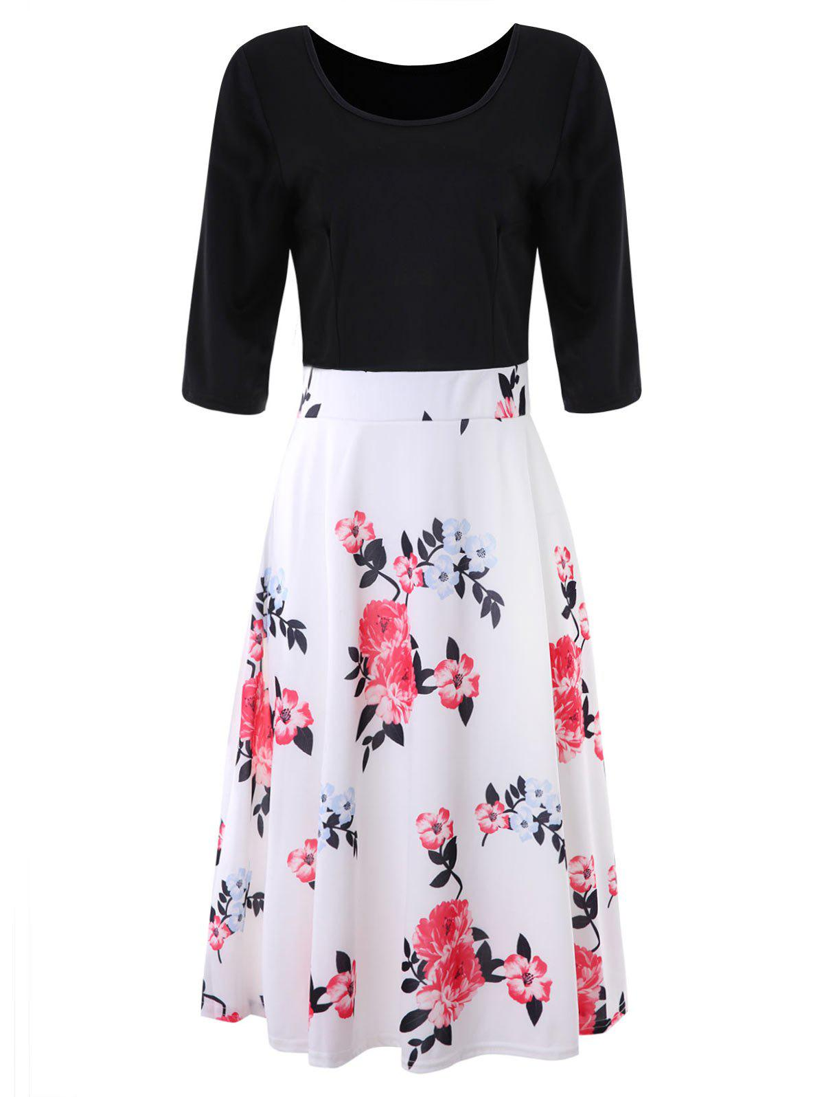 Cheap Vintage Floral Print Sewing Dress