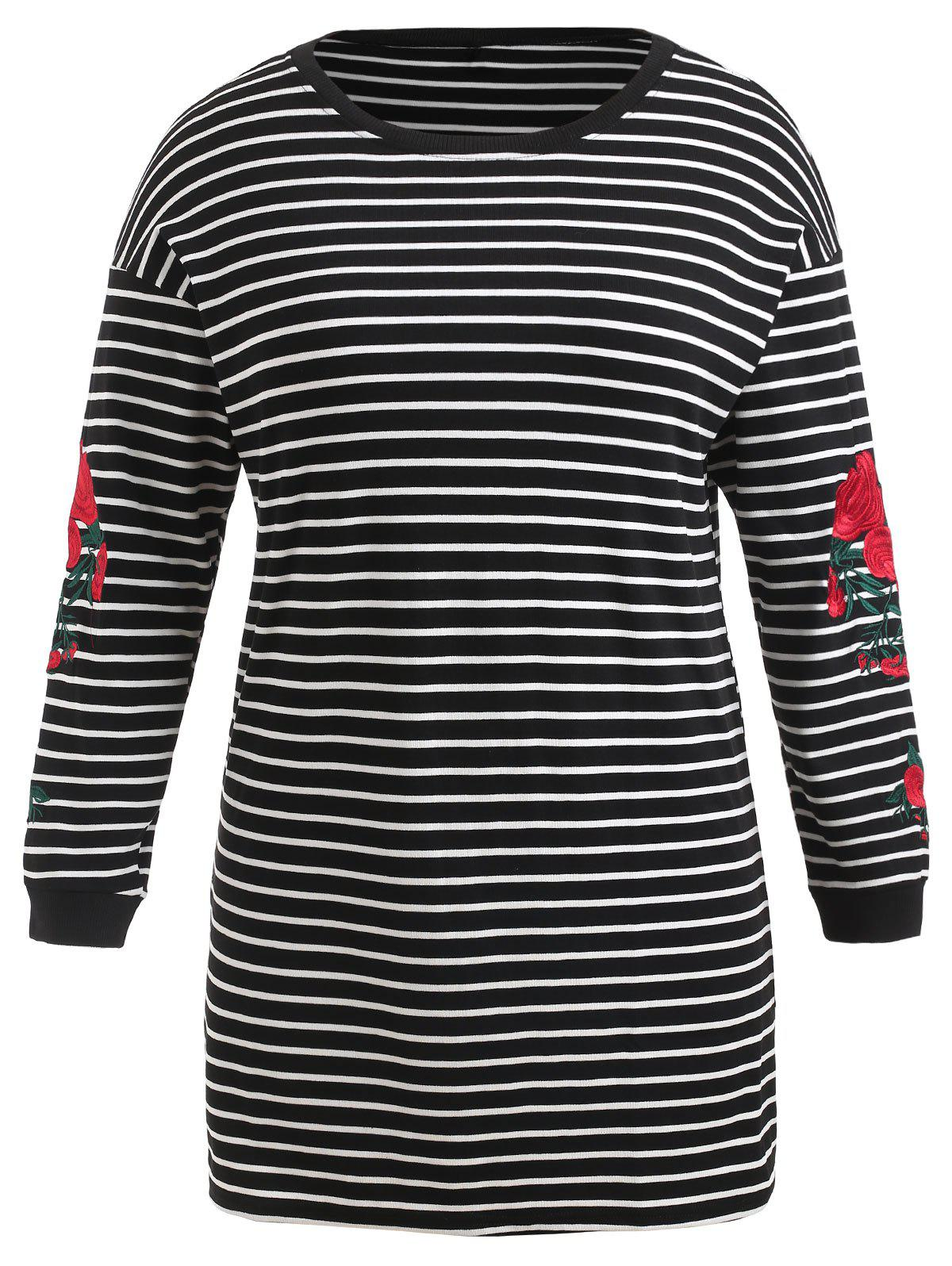 Chic Plus Size Floral Embroidered Striped Tee Dress