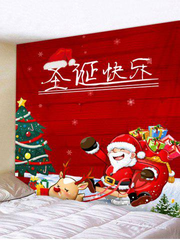 Christmas Elk Sleigh Print Tapestry Wall Hanging Decoration - RED - W91 X L71 INCH