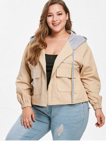 Plus Size Drawstring Hooded Zip Jacket