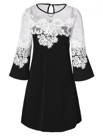 Lace Panel Openwork A Line Dress
