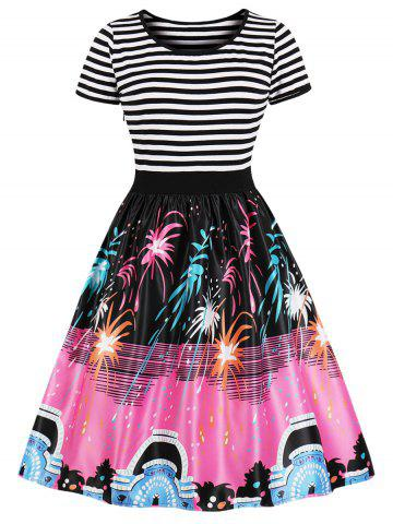 Fireworks Print Striped Panel A Line Dress