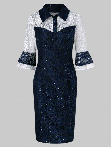 Half-button Sequined Lace Bodycon Dress
