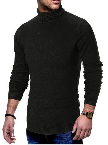 Turtle Neck Solid Pullover Sweater