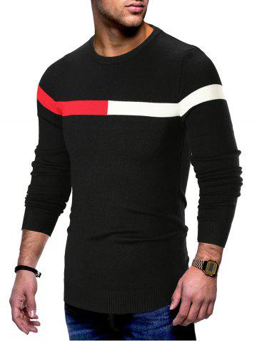 Panel Long Sleeve Pullover Sweater