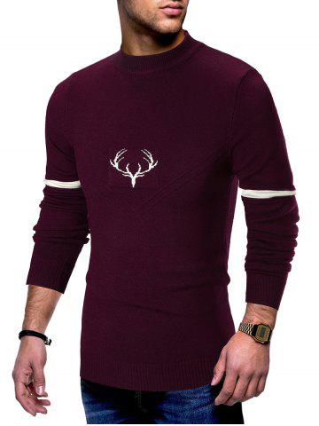 Elk Print Long Sleeve Pullover Sweater