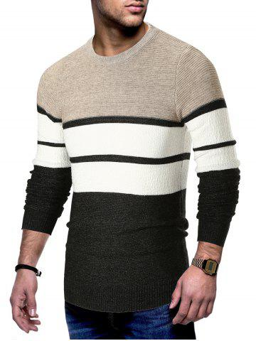 Long Sleeve Color Block Striped Sweater