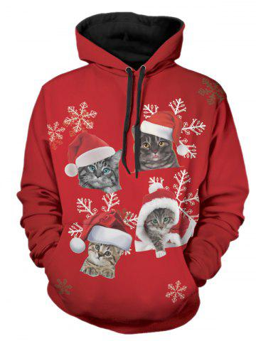 Christmas Cats Print Pullover Hoodie