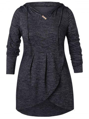 Plus Size Buttoned High Low Hoodie - DARK SLATE GREY - L