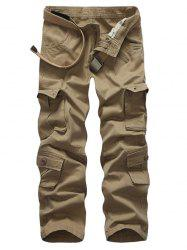 Zip Up Multi Pockets Solid Cargo Pants -