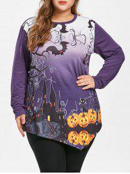 Plus Size Asymmetrical Halloween Pumpkin Tee -