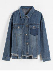 Plus Size Pocket Frayed Jacket -