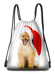 Christmas Dog Printed Drawstring Christmas Gift Bag -