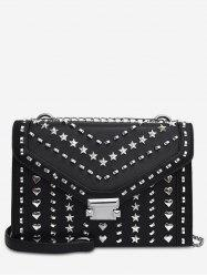 Heart Shape Rivet Chic Chain Crossbody Bag -